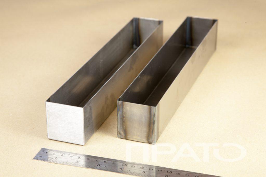 Коробка средняя. Металлообработка ПРАТО, Сергиев Посад, продолговатая, прямоугольная форма, тара, изделие из металла, хранение, деревянная столешница, железная линейка, гибка, производство, цех, деталь